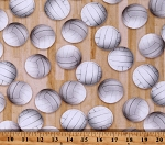 Cotton Volleyball Net Balls Games Beach Sports Life Natural Cotton Fabric Print by the Yard (SRKD-19493-14NATURAL)