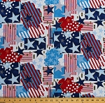 American Flag Stars & Stripes Old Glory USA Red Blue White Patriotic Fourth of July Independence Day Cotton Fabric Print by the Yard (D669.06)