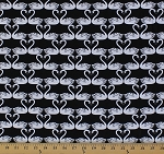 Cotton Essentials VI Swans White Birds Animals Hearts Black Cotton Fabric Print by the Yard (1603-99)