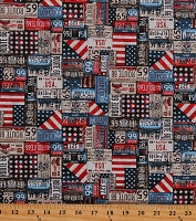 Cotton Route 66 Signs License Plates Cruise Retro America Travel All-American Road Trip Cotton Fabric Print by the Yard (4318-77)