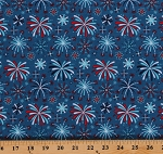 Cotton Fireworks and Freedom Fourth of July Patriotic USA Independence Day Blue Cotton Fabric Print by the Yard (C9302-Blue)