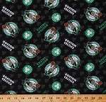 Cotton Boston Celtics on Black NBA Pro Basketball Sports Team Cotton Fabric Print by the Yard (83BOS0002)