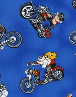 Cotton Hogs on Hogs Motorcycles Pigs Hot Rod Cotton Fabric Print by the Yard (Fun-C9811-blue)