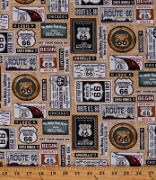 Cotton Route 66 Travel Road Signs Retro Road Trip Tan Cotton Fabric Print by the Yard (7435-035TAN)