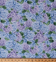 Cotton Hydrangeas Allover Flowers Floral Garden Spring Purple Blue Coastal Paradise Cotton Fabric Print by the Yard (1504-11)