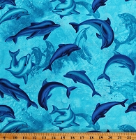 Cotton Dolphins Ocean Water Sea Animals Cotton Fabric Print by the Yard (OCEAN-C8031 BLUE)