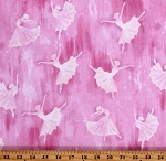 Cotton Ballet Dancers Girls Ballerina Silhouette Pink Cotton Fabric Print by the Yard (9837P-02)