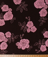Cotton Pink Roses Floral Large Flowers on Brown Cotton Fabric Print by the Yard (ASG-6713-16)