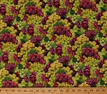 Cotton Grapes Grape Bunches Allover Fruit Grapevines Vineyard Kitchen Food Festival Cotton Fabric Print by the Yard (579MULTI)