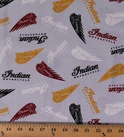Cotton Indian Motorcycle® Logos on Gray Motorcycles Bikers Transportation Cotton Fabric Print by the Yard (C7381-Gray)