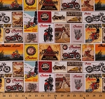 Cotton Indian Motorcycle® Squares Vintage Motorcycles Scenes Postcards Signs Posters Cotton Fabric Print by the Yard (C7386-White)