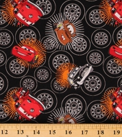 Cotton Cars Pixar Wheels Mater Lightning McQueen Kachow Black Black Cotton Fabric Print by the Yard (85070106-02)