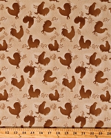 Cotton Roosters Rooster Inn Brown Chicken Wire Hobby Farm Farming Country Cotton Fabric Print by the Yard (112-31132)