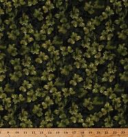 Cotton Grape Leaves Grapes Leaf Vineyard Classics II Green Black Cotton Fabric Print by the Yard (08608-44)