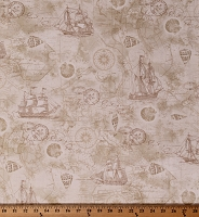 Cotton Nautical Ships Sailboats Seashells Compasses Maps Stamps Travel Ocean Beach Vintage-Look Cream Cotton Fabric Print by the Yard (BEACH-C6659)