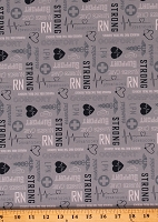 Cotton Nurses Nursing RN LPN Medical Essential Workers Hero Words on Gray Nobody Fights Alone Cotton Fabric Print by the Yard (C10422-BLUE)