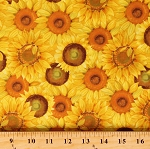 Cotton Sunflowers Flowers Floral Nature Sunny Fields Yellow Cotton Fabric Print by the Yard (Y3028-9 YELLOW)
