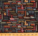 Cotton Paris London Panama Eiffel Tower Destinations Travel the World Words Script Black Cotton Fabric Print by the Yard (C10031)
