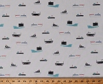 Cotton Ships Boats Nautical Sailors Fishing Boats Cargo Ships on White Cotton Fabric Print by the Yard (STELLA-616-MULTI)