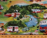 Cotton Vintage Trailers Campers Camping Outdoors RV's Campsites Multicolor Cotton Fabric Print by the Yard (3503GREEN)