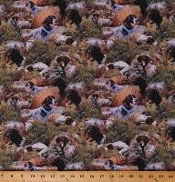 Cotton Hunting Dogs Spaniels Pheasants Show Dogs Allover Scenic Cotton Fabric Print by the Yard (68444-A620715)