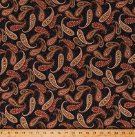 Cotton Paisley Grey and Orange Bandana Look Wild Wild West Cotton Fabric Print by the Yard (5349-99)
