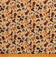 Cotton Cowboy Wild West Cowboy-hats Cowboy-boots Cotton Fabric Print by the Yard ( 5355-33)