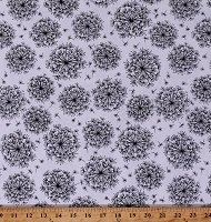 Cotton Dandelions Dandelion Seeds Wildflowers Floral Black Dandelions on White Cotton Fabric Print by the Yard (10406-99)