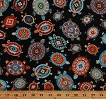 Cotton Turtles Southwestern Aztec Native Designs Black Cotton Fabric Print by the Yard (WEST-C6177-BLACK)