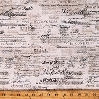 Cotton US Constitution Preamble Words Script Independence Declaration Cotton Fabric Print by the Yard (USA-C7997-NATURAL)