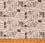 Cotton Postage Travel Stamps Words Script Cotton Fabric Print by the Yard (NOIR-C1904-CREAM)