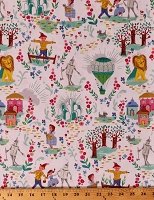 Cotton The Wonderful Wizard of Oz Characters Dorothy's Journey Tin Man Scarecrow Cowardly Lion Emerald City Kids Cotton Fabric Print by the Yard (SC8680 WHITE)