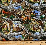 Cotton Deer Trees Branches Leaves Real Tree Blaze Edge Scenic Camoflauge Cotton Fabric Print by the Yard (46507-35191)