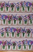 Cotton Flowers Floral Bouquets Vases Jars Springtime Garden (4 Parallel Stripes) Cotton Fabric Print by the Yard (FLEUR-C7567-MULTI)