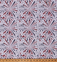 Cotton Fireworks Starbursts Patriotic Fourth of July Independence Day Red White Blue Cotton Fabric Print by the Yard (69499-G550715)