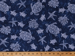 Cotton Sea Turtles Starfish Starfishes Corals Water Sea Animals Nautical Ocean Blue Turtle Bay Cotton Fabric Print by the Yard (MAS9525-N)