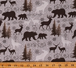 Cotton Bears Deer Elk Moose Trees Mountain Silhouettes Cotton Fabric Print by the Yard (06963-16)