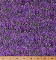 Cotton Lavender Flowers Flower Floral Landscape Medley Purple Fabric Print by the Yard (572LAVENDER)