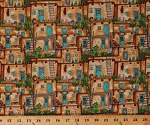 Cotton Adobe Houses Pueblos Village City Cactus Cacti Southwestern Western Red Rock Reflection Cotton Fabric Print by the Yard (9922-44)