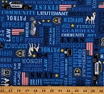 Cotton Police Officers Cops Support SWAT K9 Unit Respect Cotton Fabric Print by the Yard (POLICE-C8407 BLUE)
