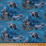 Cotton Manatees Sea Turtles Fish Aquatic Animals Nature Nautical Gentle Giants Cotton Fabric Print by the Yard (20000AQUA)