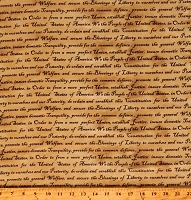 Cotton Declaration of Independence America Defenders of Freedom We the People Constitution Preamble Tan Cotton Fabric Print by the Yard (11210922)