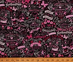 Cotton Breast Cancer Awareness Pink Ribbons Hearts Flowers Butterflies Black Cotton Fabric Print by the Yard (GAIL-C3999-Black)