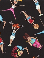 Cotton Gym Workout Girls Yoga Cartoon-Look Cotton Fabric Print BTY (Jenn-C1974-Black)
