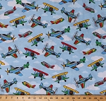 Cotton Airplanes Aviation Airplane Flying Air Show Transportation on Blue Cotton Fabric Print by the Yard (D684.55)