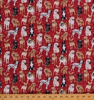Cotton Dogs Dog Breeds Bulldogs Terriers Pawprints on Red My Pet Family Canine Cotton Fabric Print by the Yard (120-16032)