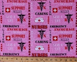 Cotton U.S. Army Nursing Nurse Corps Symbol Emblem Military Medical Dept. RN Nurses Sayings Quotes Pink Cotton Fabric Print by the Yard (1181-NURSE)