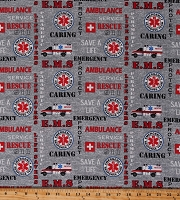 Cotton EMS Emblem Emergency Medical Services 911 Ambulances Words Phrases on Gray Cotton Fabric Print by the Yard (1181-RES)