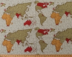 Cotton Map of the World Multi-Color Vintage-Look Countries Continents Maps Geography Travel Passport 3 Sisters Cotton Fabric Print by the Yard (3929-11)