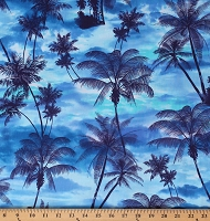 Cotton Palm Trees Tropical Paradise Water Ocean Ave Cotton Fabric Print by the Yard (05959-50)